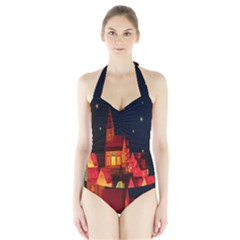 Market Christmas Light Halter Swimsuit