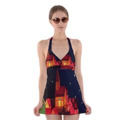 Market Christmas Light Halter Swimsuit Dress