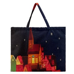 Market Christmas Light Zipper Large Tote Bag