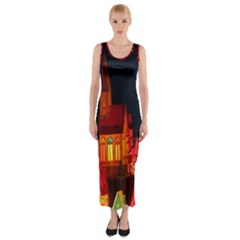 Market Christmas Light Fitted Maxi Dress