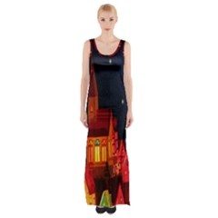 Market Christmas Light Maxi Thigh Split Dress