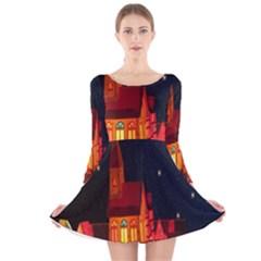 Market Christmas Light Long Sleeve Velvet Skater Dress