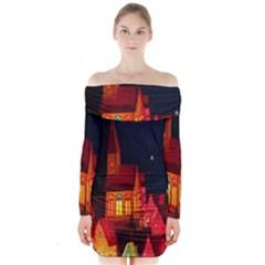 Market Christmas Light Long Sleeve Off Shoulder Dress