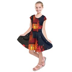Market Christmas Light Kids  Short Sleeve Dress