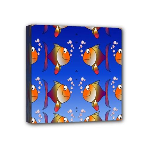 Illustration Fish Pattern Mini Canvas 4  x 4