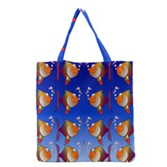 Illustration Fish Pattern Grocery Tote Bag