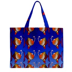 Illustration Fish Pattern Zipper Mini Tote Bag