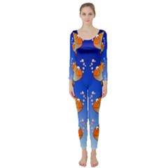 Illustration Fish Pattern Long Sleeve Catsuit