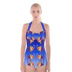 Illustration Fish Pattern Boyleg Halter Swimsuit