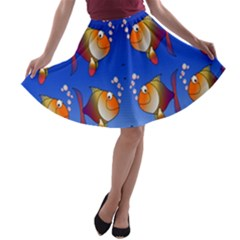 Illustration Fish Pattern A-line Skater Skirt