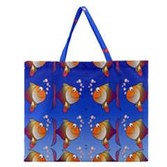 Illustration Fish Pattern Zipper Large Tote Bag