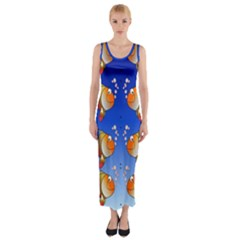 Illustration Fish Pattern Fitted Maxi Dress