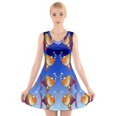 Illustration Fish Pattern V Neck Sleeveless Skater Dress