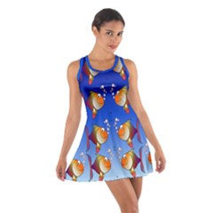 Illustration Fish Pattern Cotton Racerback Dress