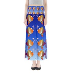 Illustration Fish Pattern Maxi Skirts