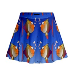 Illustration Fish Pattern Mini Flare Skirt