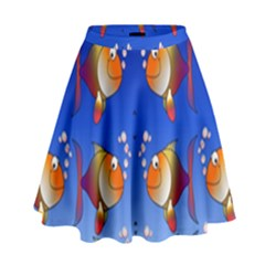 Illustration Fish Pattern High Waist Skirt