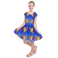 Illustration Fish Pattern Kids  Short Sleeve Dress