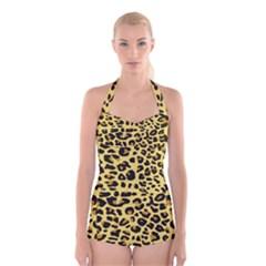 Jaguar Fur Boyleg Halter Swimsuit