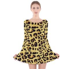 Jaguar Fur Long Sleeve Velvet Skater Dress