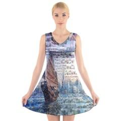 Hong Kong Travel V Neck Sleeveless Skater Dress