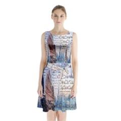 Hong Kong Travel Sleeveless Chiffon Waist Tie Dress