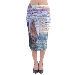 Hong Kong Travel Midi Pencil Skirt