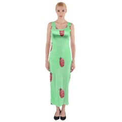 Ladybug Pattern Fitted Maxi Dress