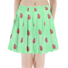 Ladybug Pattern Pleated Mini Skirt