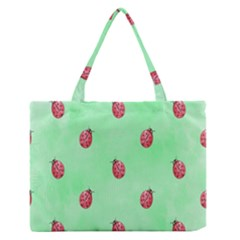 Ladybug Pattern Medium Zipper Tote Bag