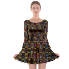 Kaleidoscope Pattern Abstract Art Long Sleeve Skater Dress