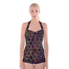 Kaleidoscope Pattern Abstract Art Boyleg Halter Swimsuit