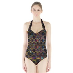 Kaleidoscope Pattern Abstract Art Halter Swimsuit