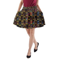 Kaleidoscope Pattern Abstract Art A-Line Pocket Skirt