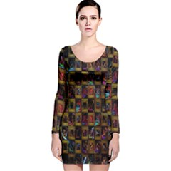 Kaleidoscope Pattern Abstract Art Long Sleeve Velvet Bodycon Dress