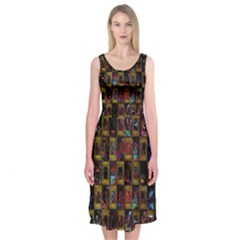 Kaleidoscope Pattern Abstract Art Midi Sleeveless Dress