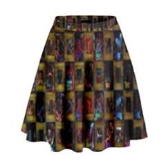 Kaleidoscope Pattern Abstract Art High Waist Skirt