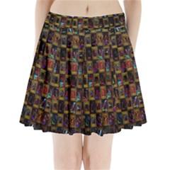 Kaleidoscope Pattern Abstract Art Pleated Mini Skirt
