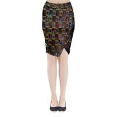 Kaleidoscope Pattern Abstract Art Midi Wrap Pencil Skirt