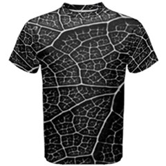 Leaf Pattern  B&w Men s Cotton Tee