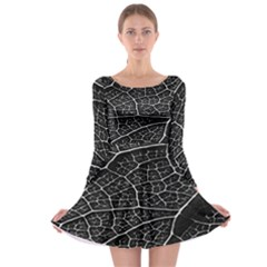 Leaf Pattern  B&w Long Sleeve Skater Dress