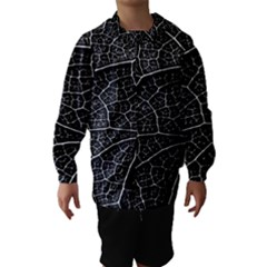 Leaf Pattern  B&w Hooded Wind Breaker (kids)