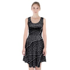 Leaf Pattern  B&w Racerback Midi Dress