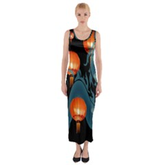 Lampion Fitted Maxi Dress