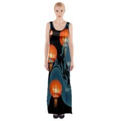 Lampion Maxi Thigh Split Dress