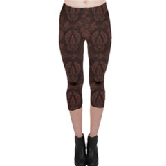Leaf Pattern Green Wallpaper Tea Leather Capri Leggings