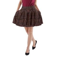 Leaf Pattern Green Wallpaper Tea Leather A-Line Pocket Skirt