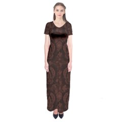Leaf Pattern Green Wallpaper Tea Leather Short Sleeve Maxi Dress