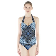 Jeans Background Halter Swimsuit