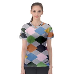Leather Colorful Diamond Design Women s Sport Mesh Tee